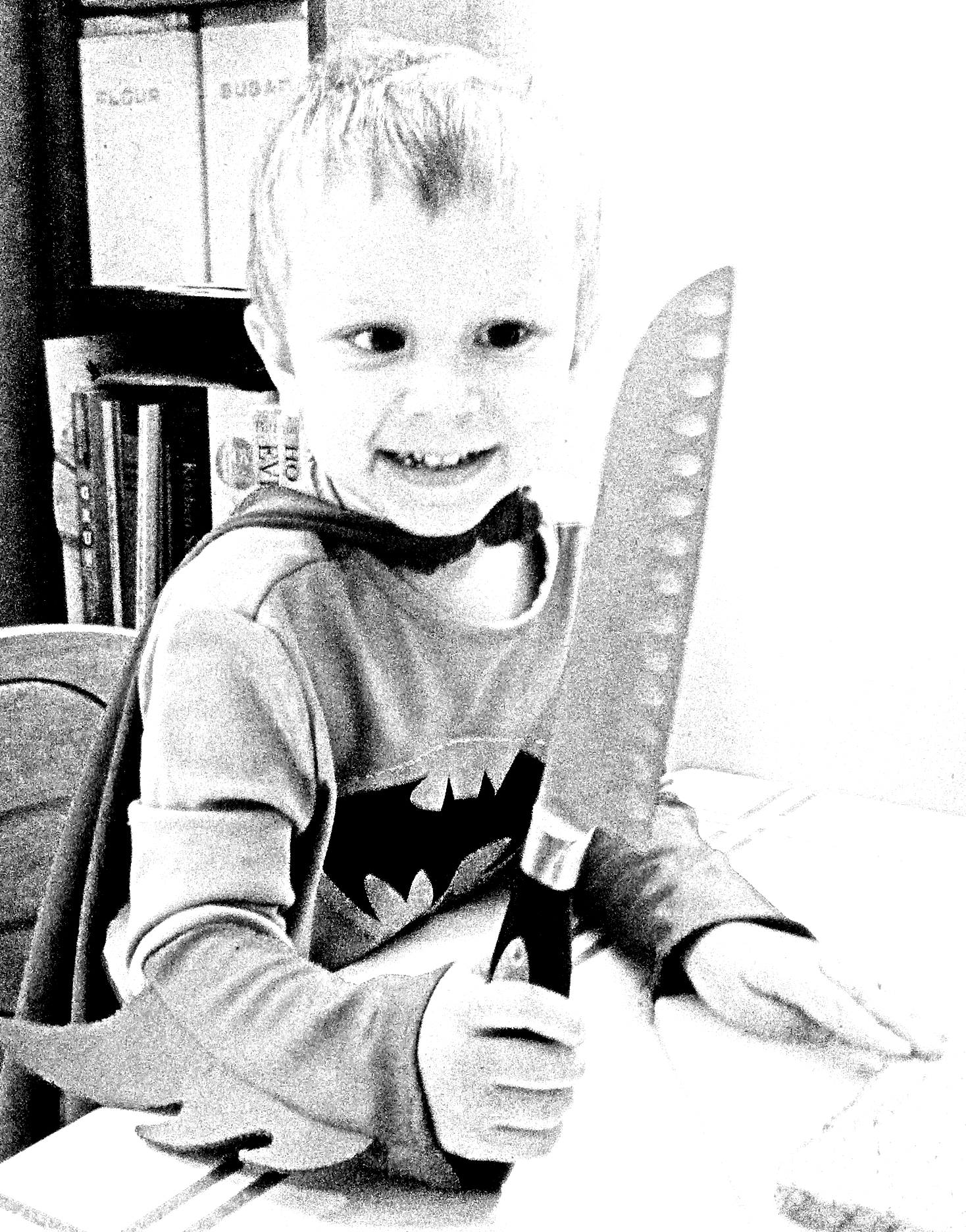 child with butcher knife